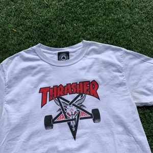 Thrasher sk8 goat white red and black tee